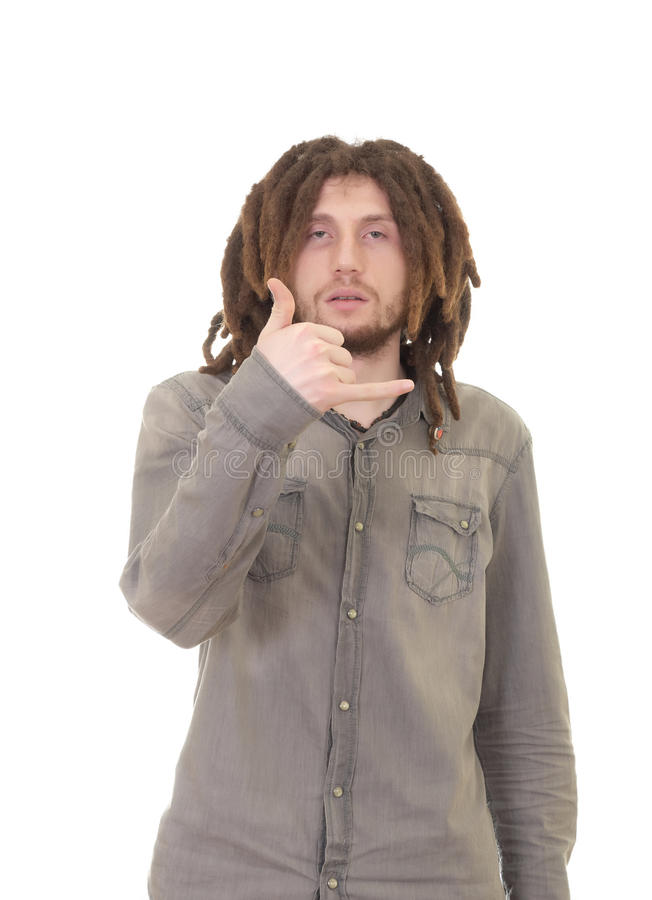Young dreadlock man isolated royalty free stock photography