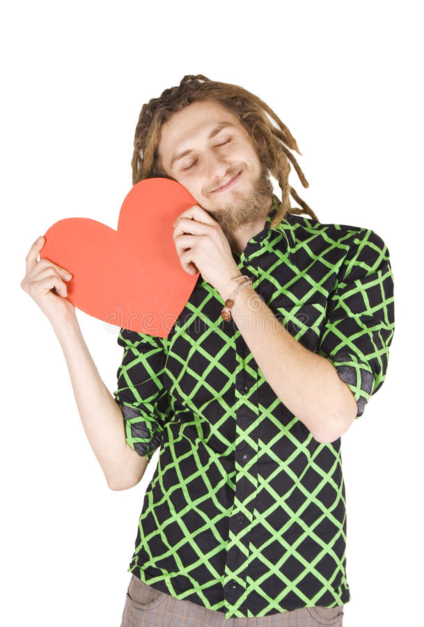 Download Young Dreadlock Man With Red Paper Heart Isolated Stock Image - Image: 12532251
