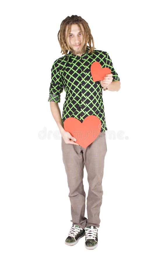 Young Dreadlock Man With Red Paper Heart Isolated Stock Image