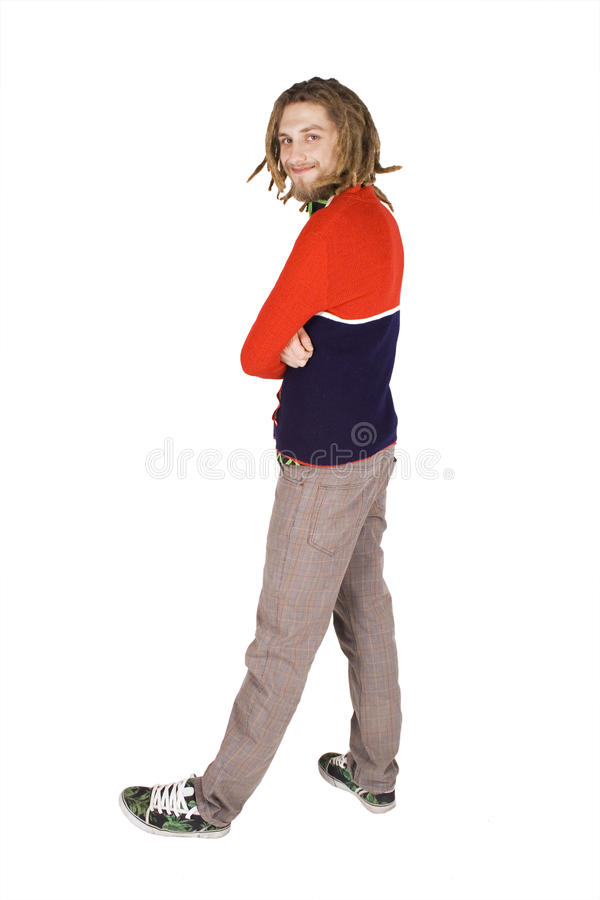 Young dreadlock man stand isolated stock photos