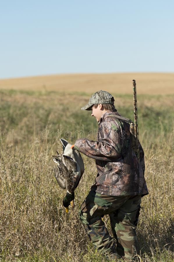 A young duck Hunter in North Dakota royalty free stock photo