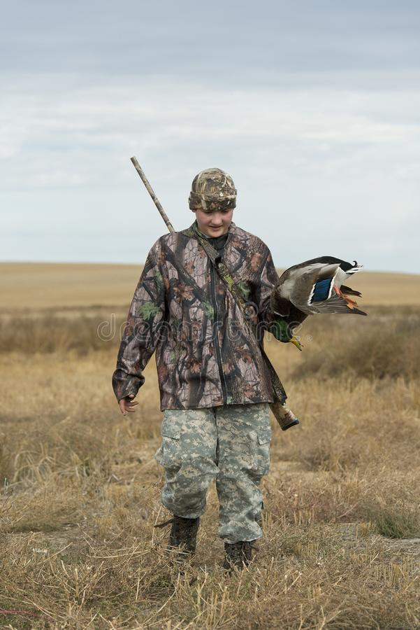 A young duck Hunter in North Dakota stock photo