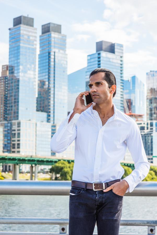 Free Young East Indian American Man Traveling In New York City Royalty Free Stock Image - 157153726