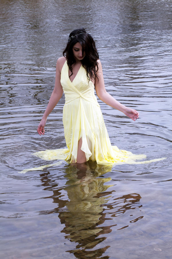 Download Young East Indian Woman Standing In River Stock Photo - Image: 23779012
