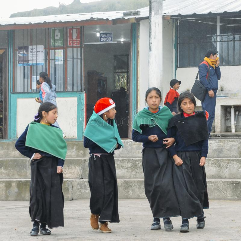 Young Ecuadorian indigenous schoolgirls at a schoolyard stock image