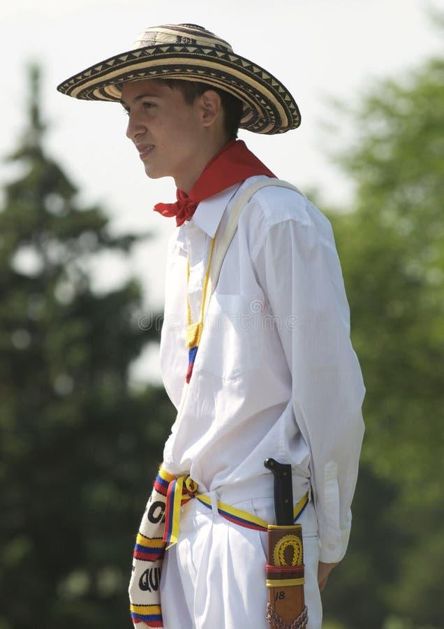 Young Ecuadorian man. A young Ecuadorian man waits to perform at Edmonton's Heritage days royalty free stock photos