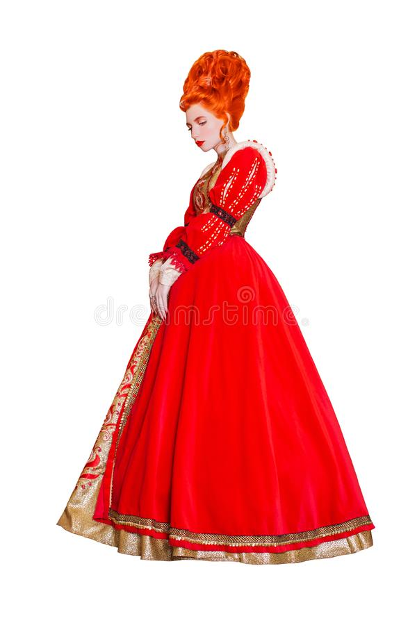 Young edwardian redhead queen from era romanticism with hairstyle isolated on white background. Edwardian princess with red hair i. Solated. Fairytale queen in stock image