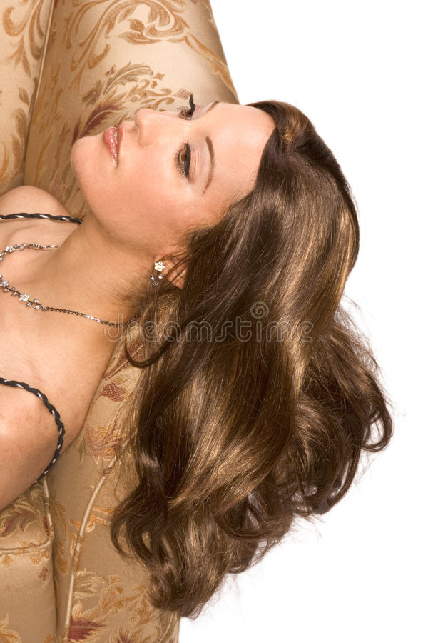 Young Egyptian Arabian woman wearing wig royalty free stock image
