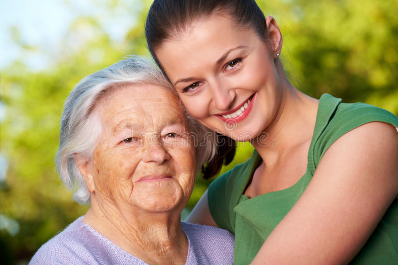 Young and elderly royalty free stock photography