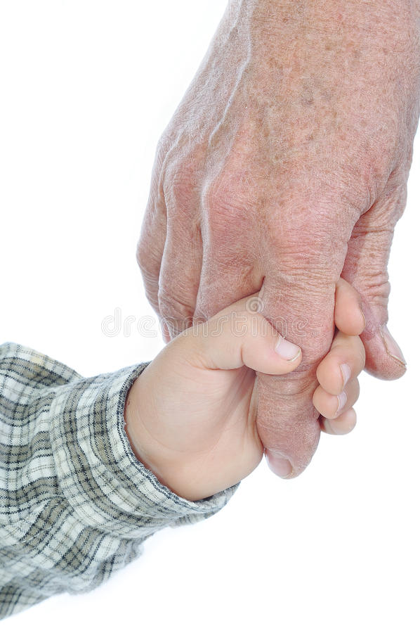 Young and elderly hands royalty free stock image