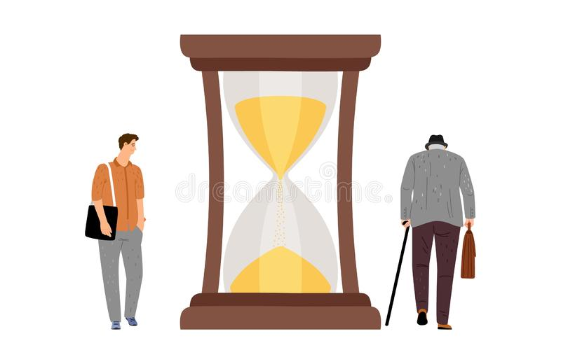 Young and elderly man lifetime. Lifetime concept. Young boy, elderly man and hourglasses. Transience of time vector illustration royalty free illustration