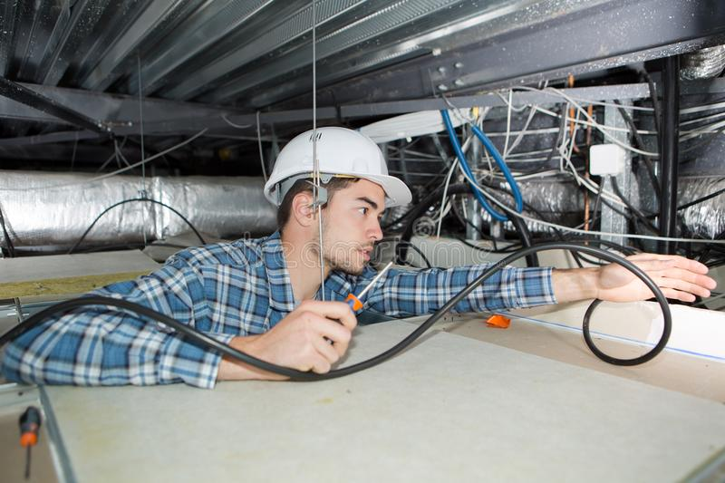 Young electrician fixing neon on ceiling stock photos