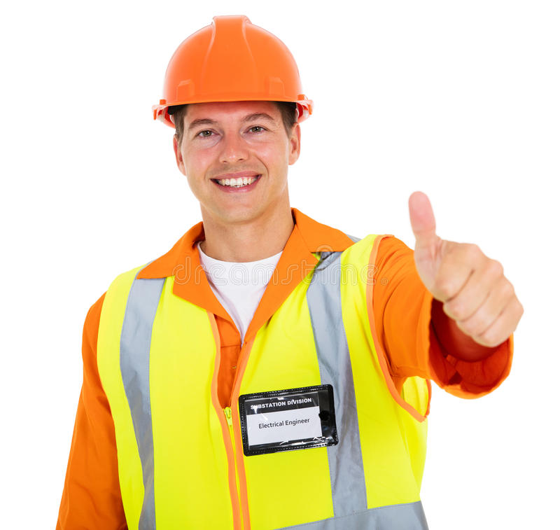 Young electrician thumb up stock photography