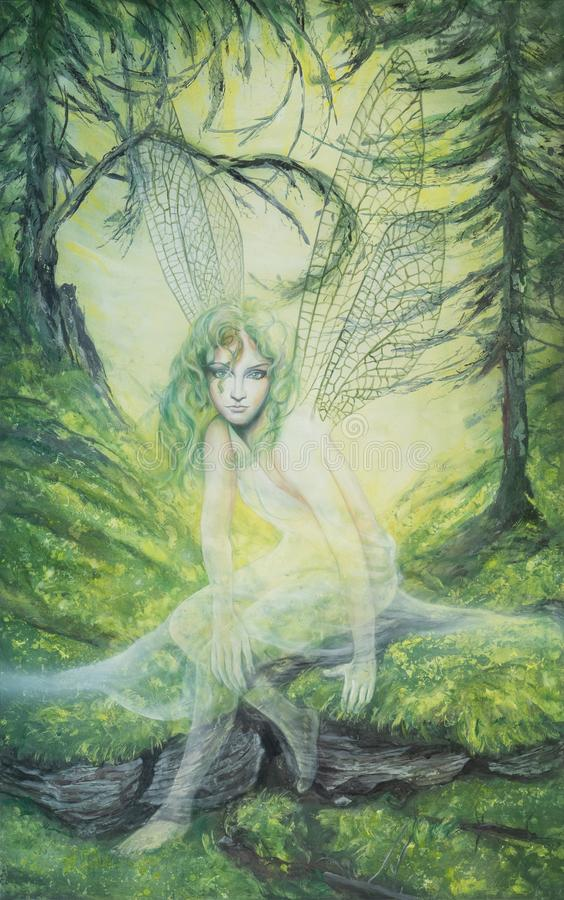 Free Young Elf Fairy With Green Hair And Dragonfly Wings In A Green Forest Royalty Free Stock Photo - 163932435