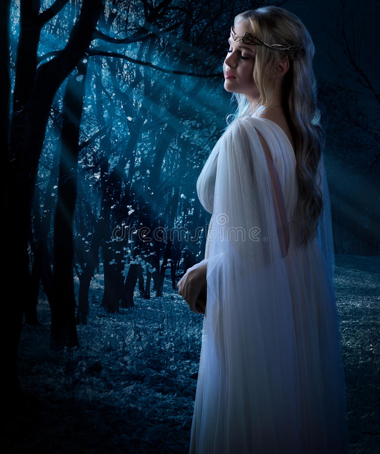 Young elven girl. Elven girl in the forest stock photography