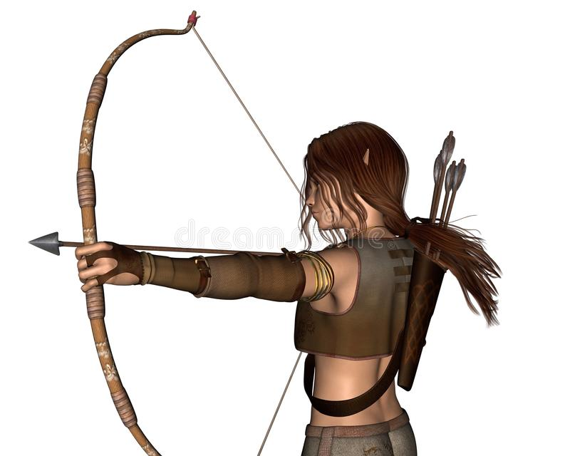 Young Elven Hunter with Bow - portrait vector illustration