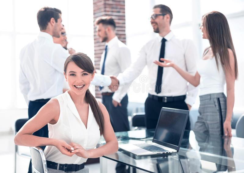 Young employee on the background of the office royalty free stock photos