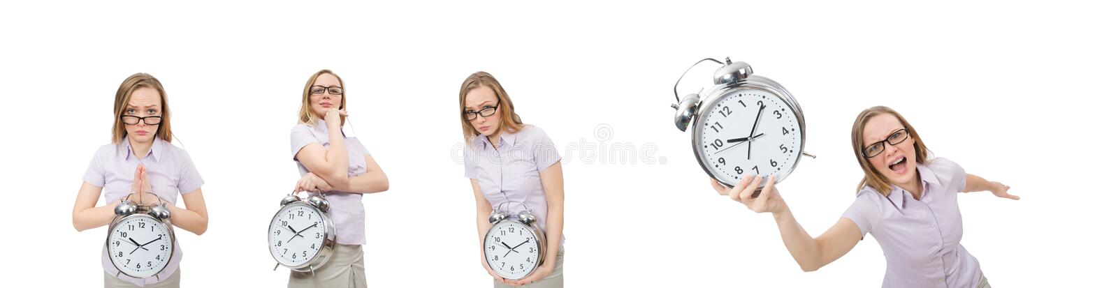 Young employee holding alarm clock isolated on white stock photography
