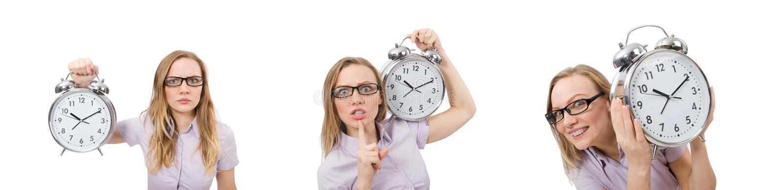 Young employee holding alarm clock isolated on white stock photo