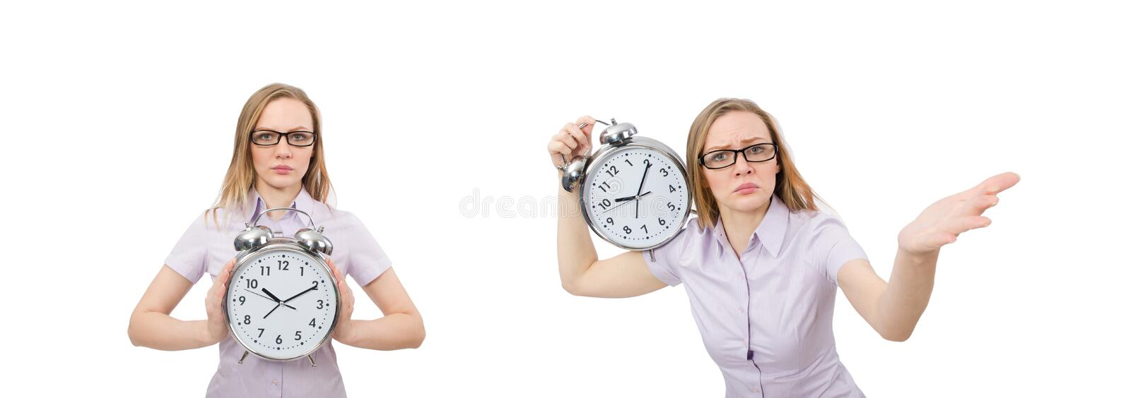 Young employee holding alarm clock isolated on white stock image