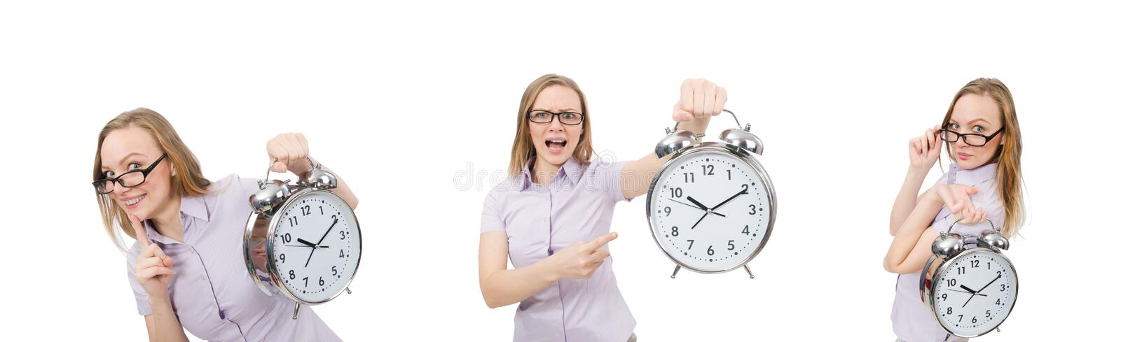 Young employee holding alarm clock isolated on white royalty free stock image