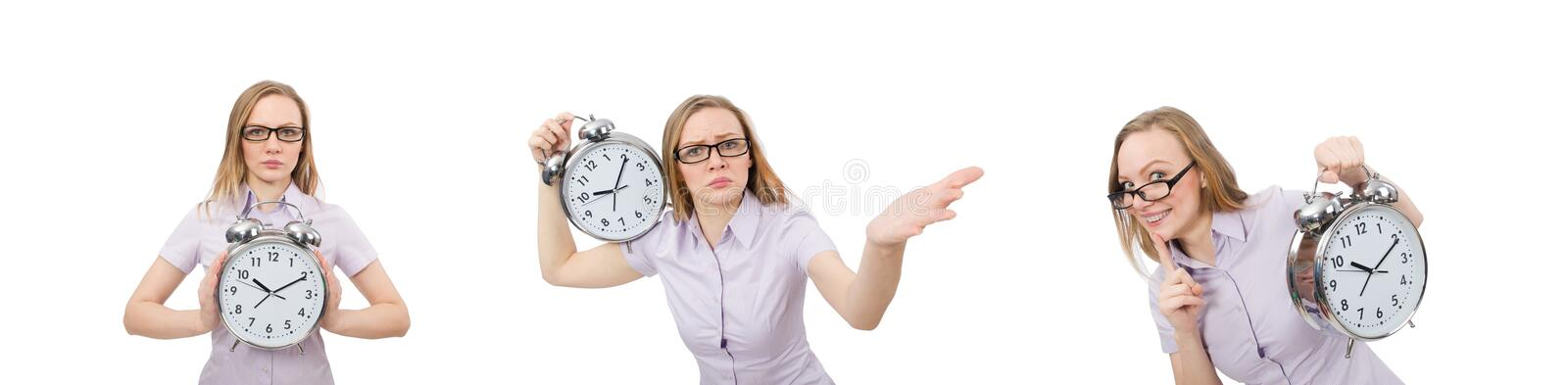 Young employee holding alarm clock isolated on white royalty free stock images