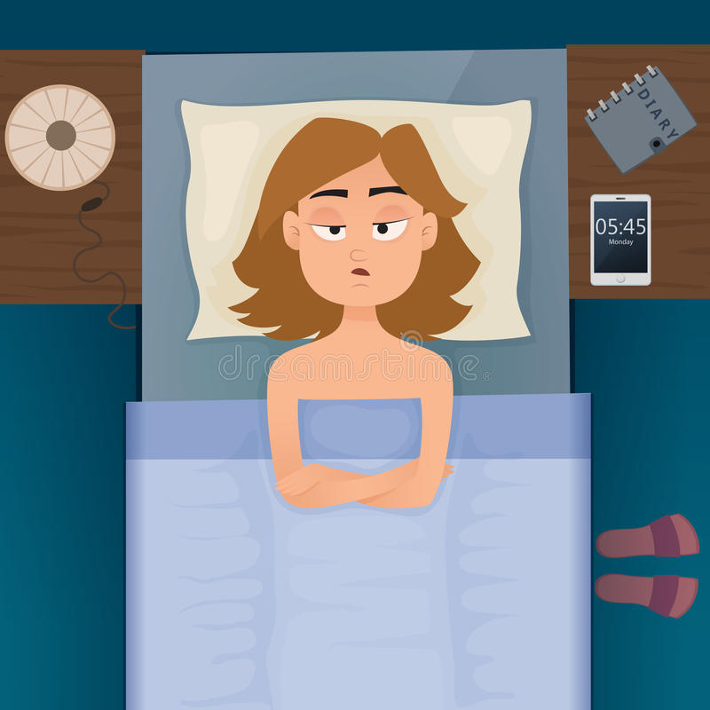 Young employee woman with insomnia and sleepless. Young employee woman with sleep problems and insomnia symptoms. Sleepless girl all night thinking about work royalty free illustration
