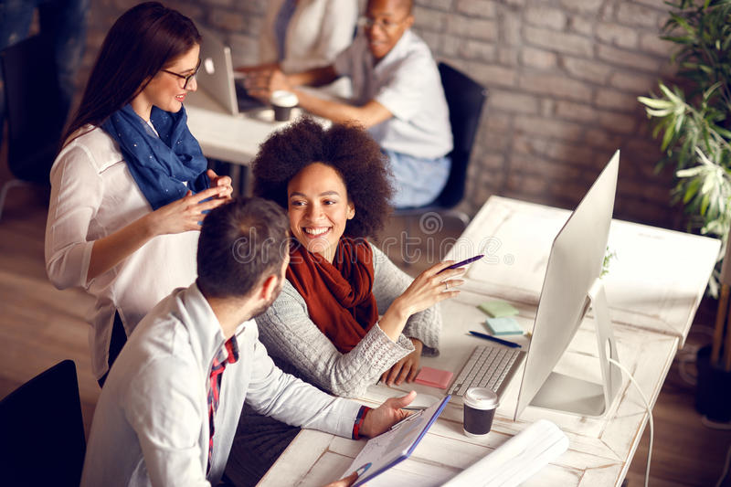 Download Young employees in office stock image. Image of briefing - 99178319
