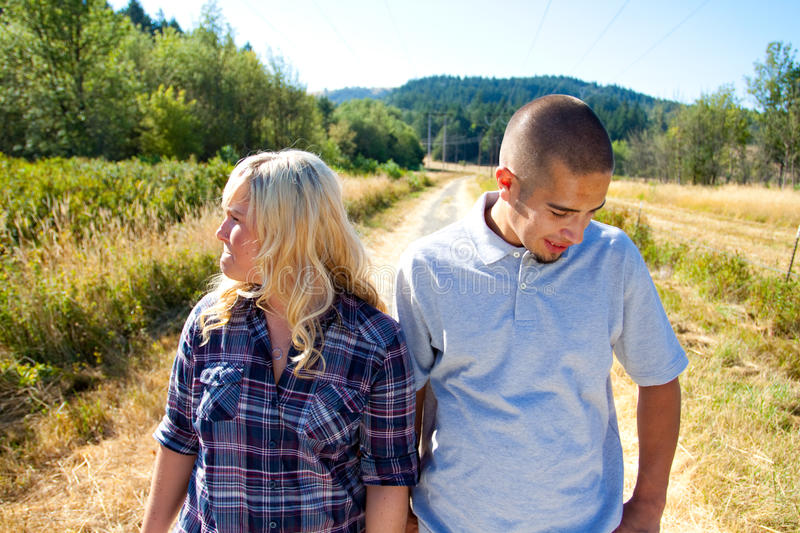 Young Engaged Couple royalty free stock image