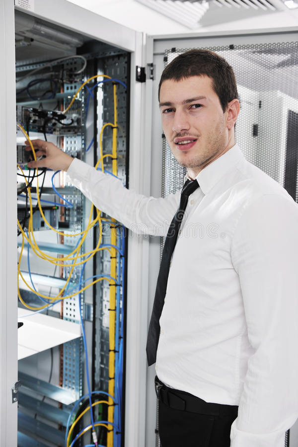 Download Young It Engeneer In Datacenter Server Room Stock Image - Image: 18039647