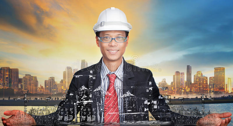 Young engineer and his urban development project u royalty free stock photo