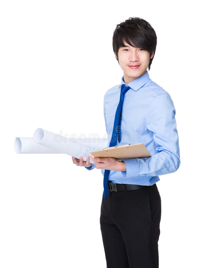 Young Engineer hold with blue print and clipboard royalty free stock photos