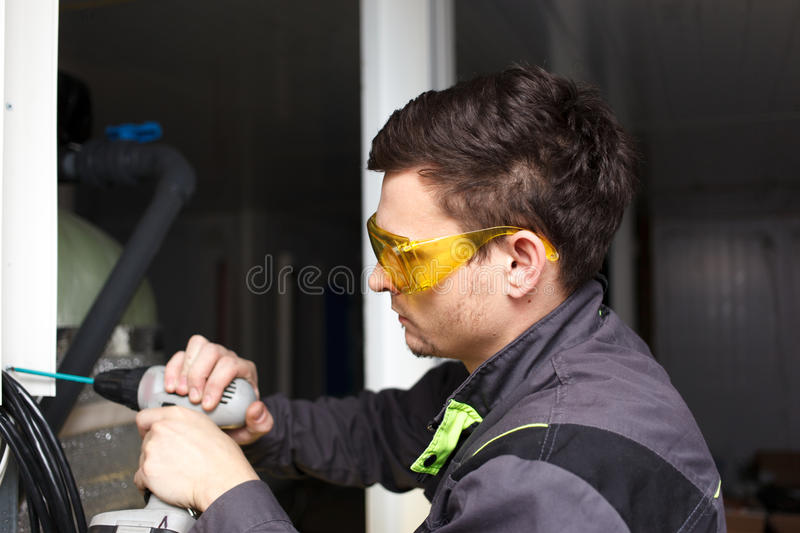 Young engineer at the plant stock photos