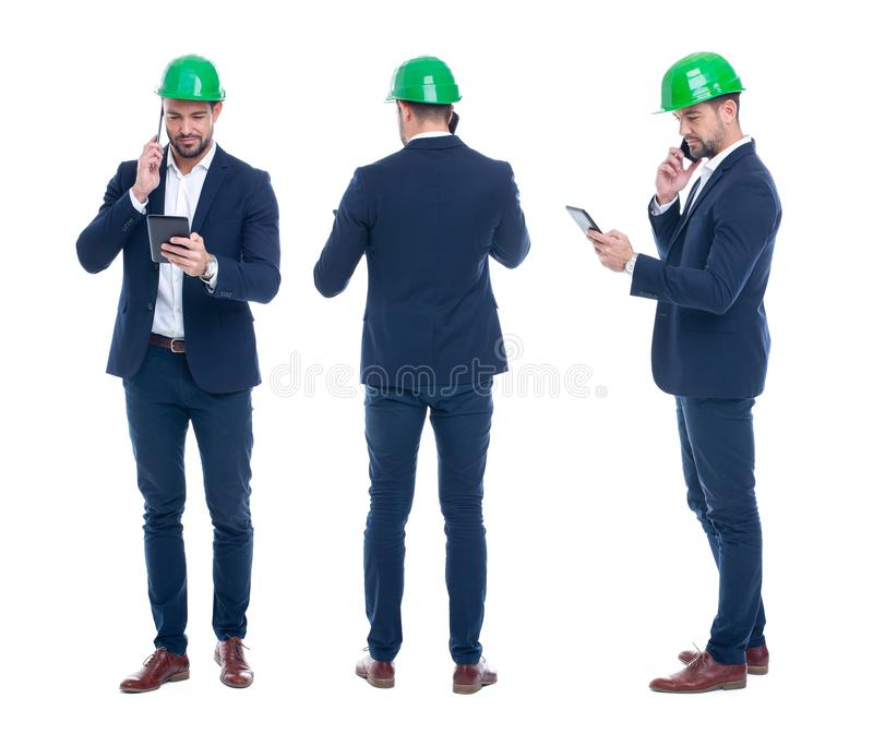 Young engineer with tablet calling by phone, front, side, rear v stock photos