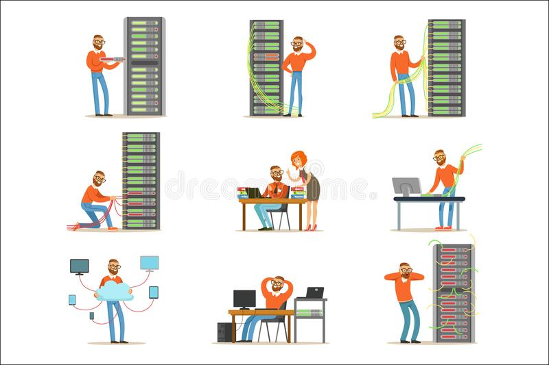 Young engineer working in network server room. Technician at the data center set of colorful Illustrations. Isolated on white background stock illustration