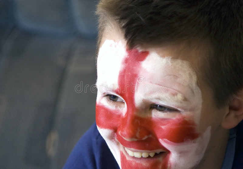Young English team fan. stock image