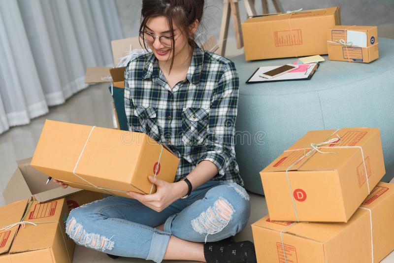 Young entrepreneur, teenager business owner work at home, alpha. Generation life style, online business conceptual royalty free stock photography