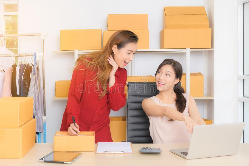 2 Young entrepreneur, teenager business owner work stock image
