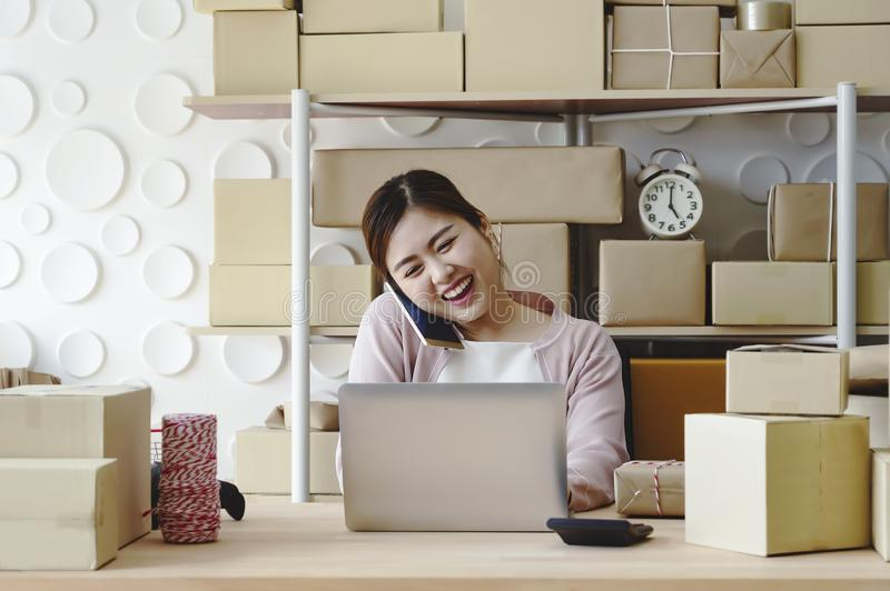 Young entrepreneur woman working at home about online business royalty free stock images