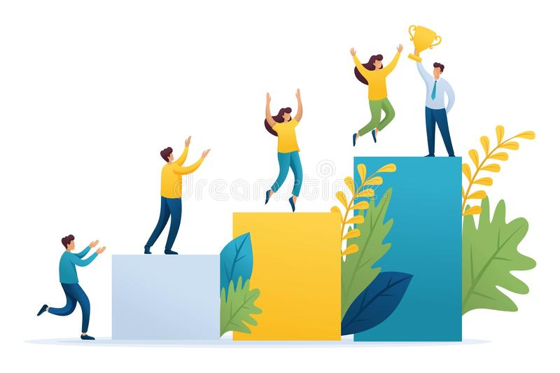Young entrepreneurs, start up project, successful business, ladder to success. Flat 2D character. Concept for web design stock illustration