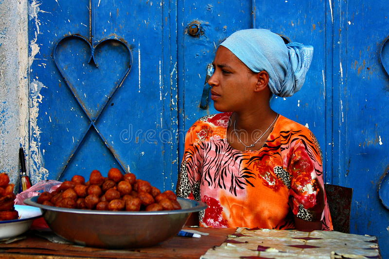 Young Ethiopian fruit seller stock images
