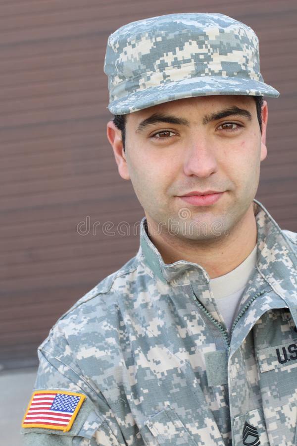 Young ethnic American soldier headshot stock image