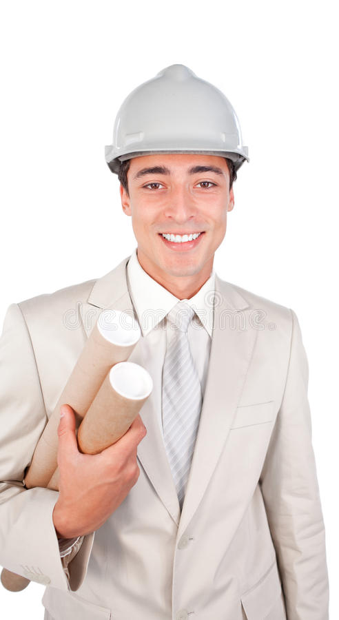 Download Young Ethnic Architect Wearing A Hardhat Stock Photo - Image of athnic, document: 12256832
