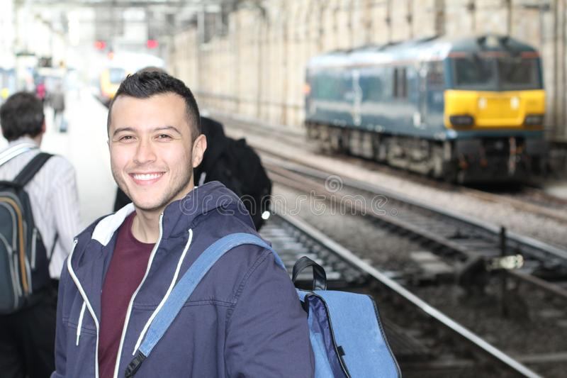Young ethnic male during his everyday commute.  stock images