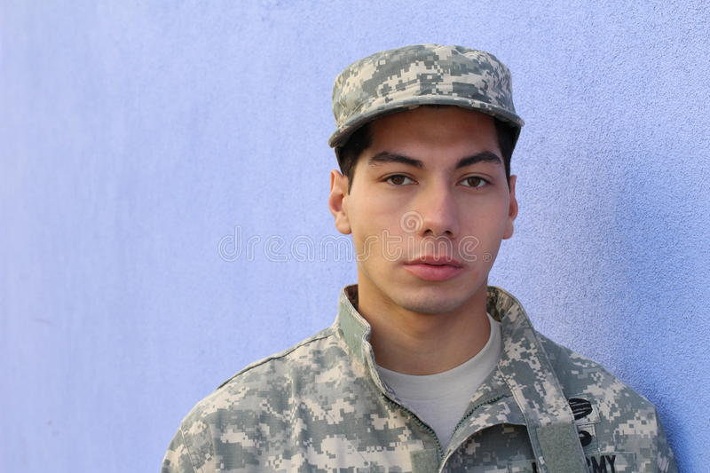 Young ethnic serious army American recruit.  stock photo
