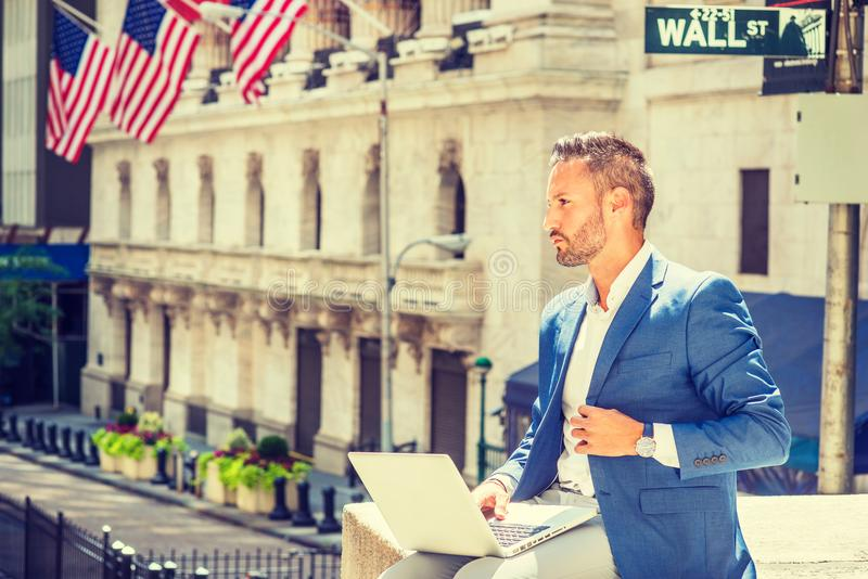 Young European Businessman with beard traveling, working in New royalty free stock images