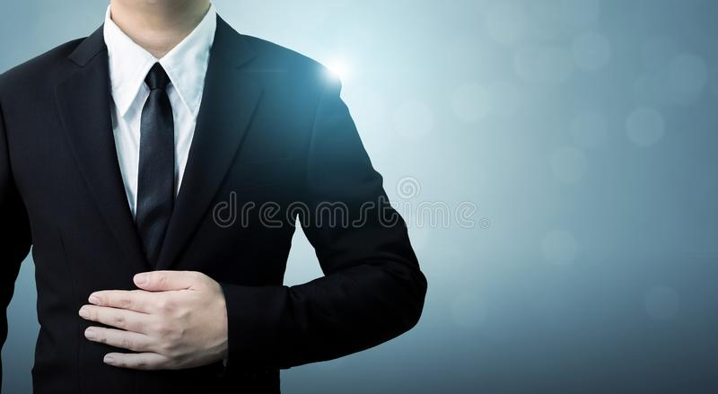 Young executive businessman in suit with copy space, Employee success in company concept stock image