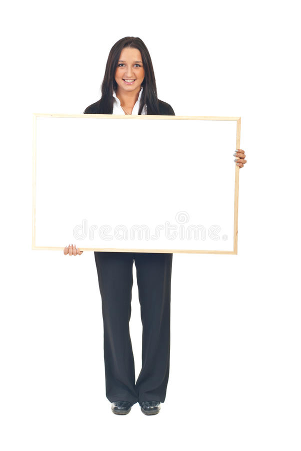 Young executive woman with banner stock photo