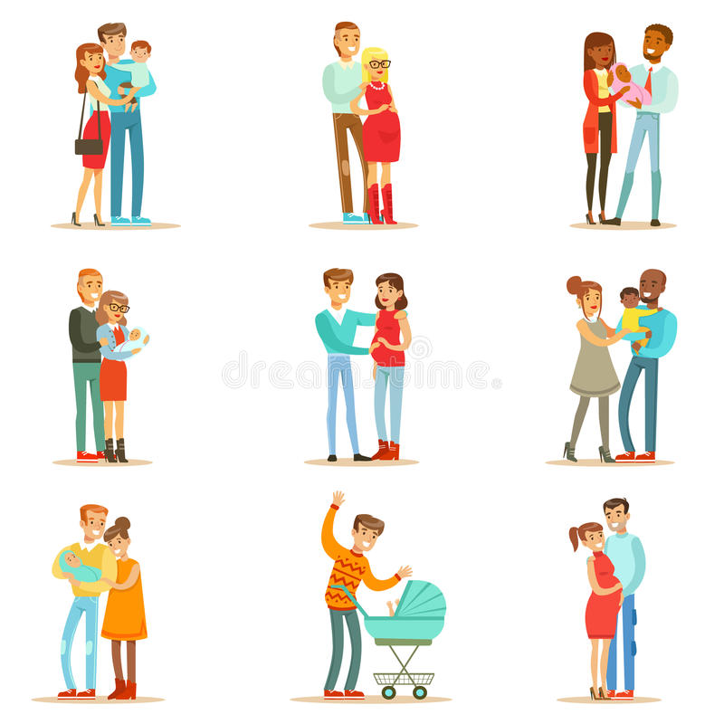 Young And Expecting Parents With Small Babies And Toddlers Set Of Happy Full Family Portraits. stock illustration