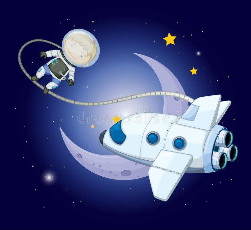 A young explorer near the moon stock illustration